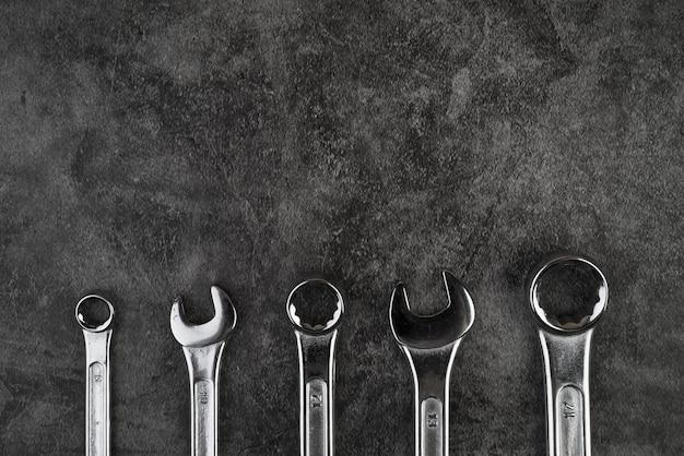 Draufsicht verschiedene arten von schlüsseln Premium Fotos
