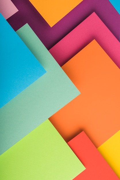 Draufsicht von bunten papierblättern Kostenlose Fotos