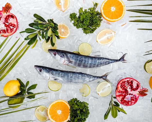Draufsicht von den rohen fischen gesetzt auf das eis umgeben mit fruchtscheiben Kostenlose Fotos