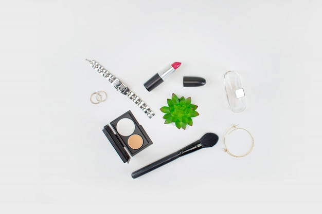 Draufsicht von make-up-tools Premium Fotos