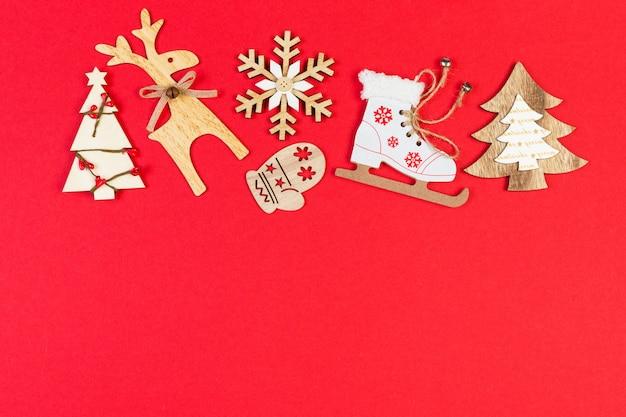 Draufsicht weihnachtsspielwaren und -dekorationen Premium Fotos