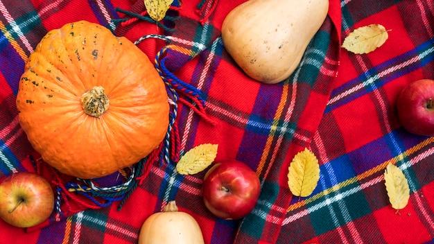 Draufsichtanordnung mit kürbisen und äpfeln Kostenlose Fotos