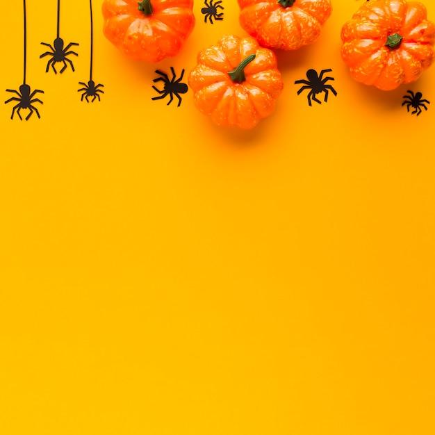 Draufsichtdekorations-halloween-kürbise Kostenlose Fotos