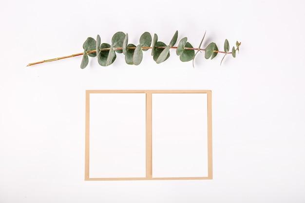 Draufsichtgrunge grußkarte pflanzt weißen hintergrund Premium Fotos