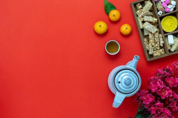 Draufsichtluftbild geschossen vom chinesischen neuen jahr der anordnungsdekoration. Premium Fotos