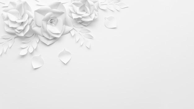 Draufsichtrahmen mit weißen blumen und hintergrund Kostenlose Fotos