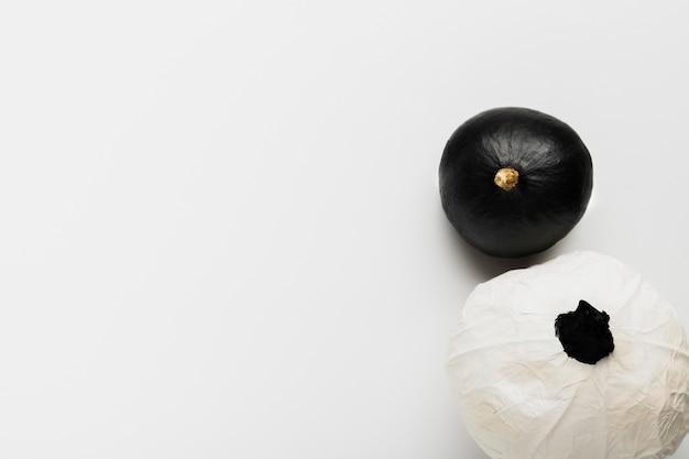 Draufsichtschwarzweiss-kürbise auf weißem hintergrund Kostenlose Fotos