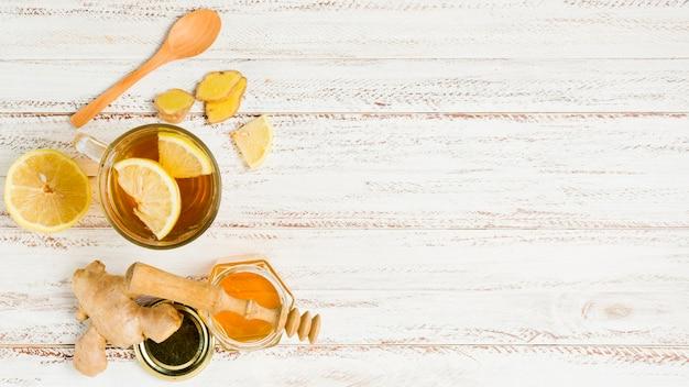 Draufsichttee mit honig und zitrone Kostenlose Fotos