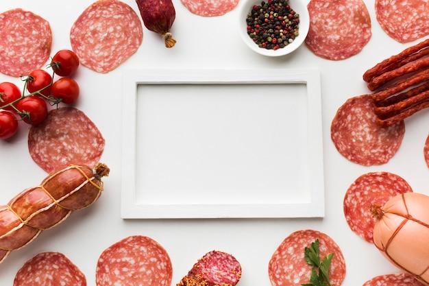 Draufsichtvielzahl des köstlichen fleisches auf dem tisch Kostenlose Fotos