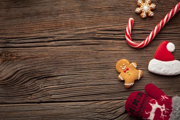 Draufsichtweihnachtsrahmen mit kopienraum Kostenlose Fotos