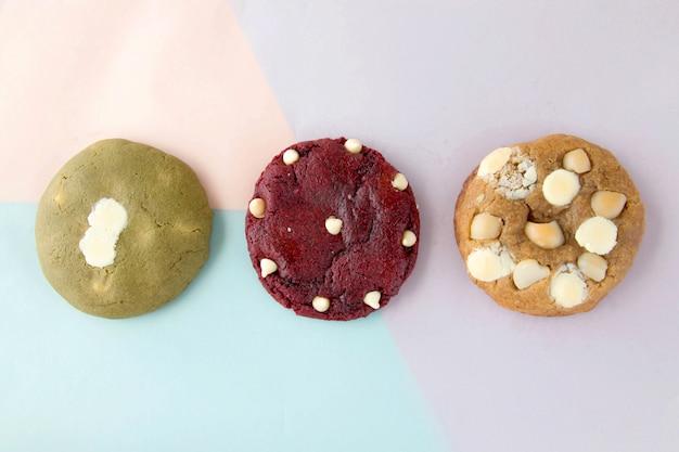 Drei hausgemachte kekse, die das leckerste dessert sind Premium Fotos