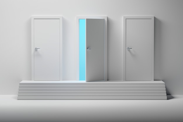 Drei weiße türen und eine geöffnete tür über der treppe Premium Fotos