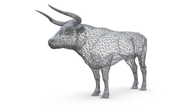 Dreidimensionales maschenmodell eines stiers. die statische figur eines ruhigen tieres. eine skulptur eines stiers des polygonalen rahmens Premium Fotos