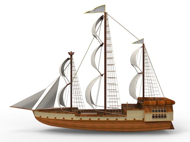 Dreidimensionales raster eines alten segelschiffs auf weiß mit weichen schatten Premium Fotos