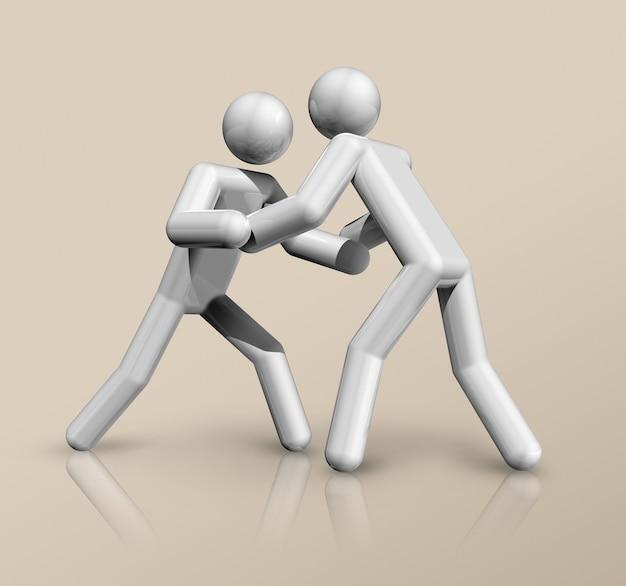 Dreidimensionales wrestlingsymbol, olympischer sport. illustration Premium Fotos