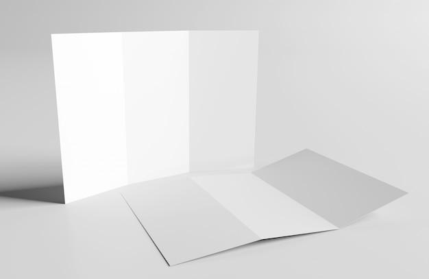 Dreifachgefalteter broschüren-spott oben, wiedergabe 3d Premium Fotos