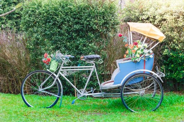 Dreirad im garten zum dekorieren oder fotografieren im öffentlichen park Premium Fotos