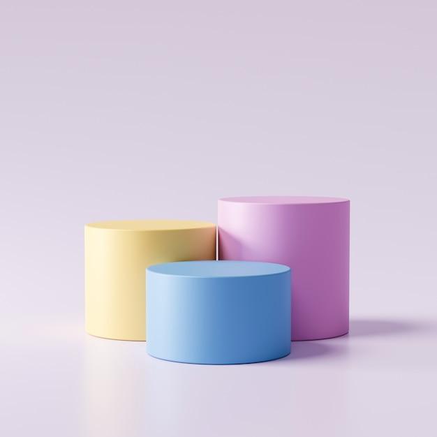 Dreistufige produktanzeige in pastellfarben auf modernem hintergrund mit leerem schaufenster zum zeigen. leerer sockel oder podestplatz. 3d-rendering. Premium Fotos