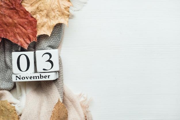 Dritter tag des herbstmonatskalenders november. Premium Fotos