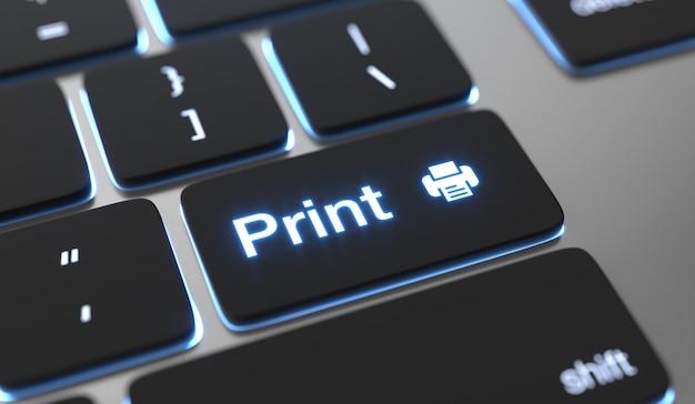 Druckkonzept. drucken sie text auf der tastaturtaste. Premium Fotos