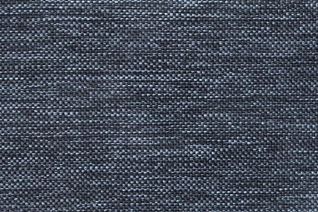 Dunkelblau des dichten gesponnenen absackgewebes, nahaufnahme. struktur des textilmakros. Premium Fotos