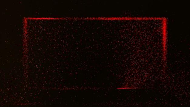 Dunkelroter hintergrund mit kleinen roten staubpartikeln, die in einen rechteckigen kasten glühen. Premium Fotos