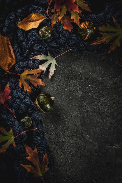 Dunkler steinhintergrund des falles mit herbstrot und gelb lässt warme strickjacke oder decke und kleine kürbise, draufsichtkopienraum Premium Fotos