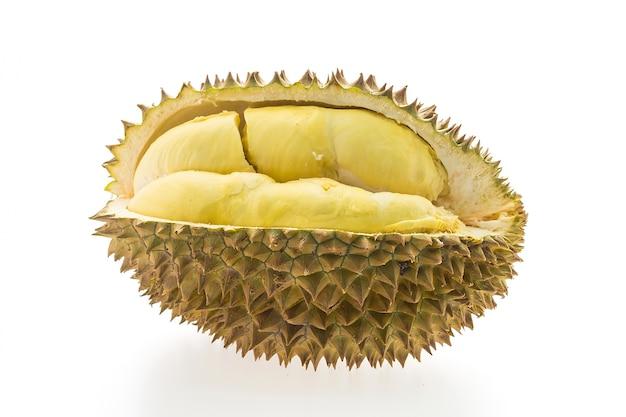 Durian-frucht auf weißem hintergrund Kostenlose Fotos