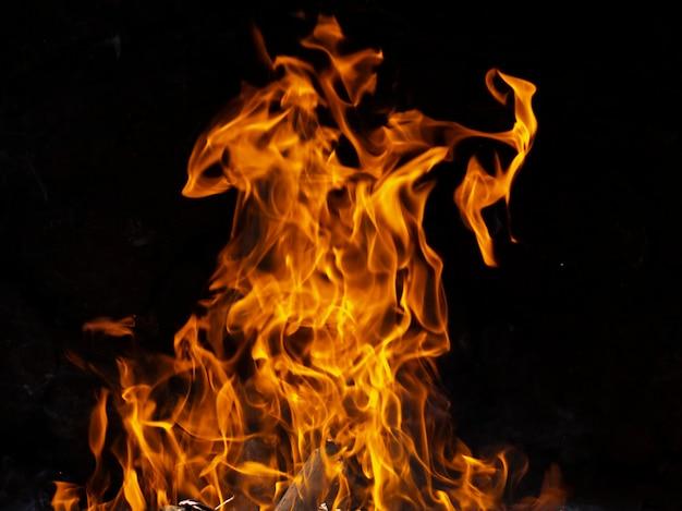 Dynamische flammen auf schwarzem hintergrund Premium Fotos