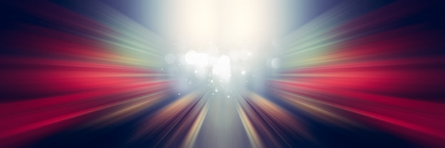 Dynamische weiße und rote lichtlinien. licht vom mittelpunkt. Premium Fotos