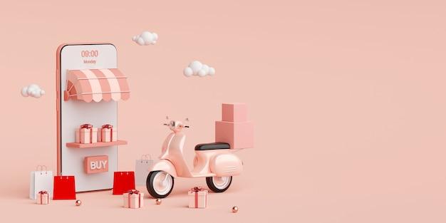 E-commerce-konzept, lieferservice für mobile anwendungen, transport oder lieferung von lebensmitteln per roller, 3d-rendering Premium Fotos