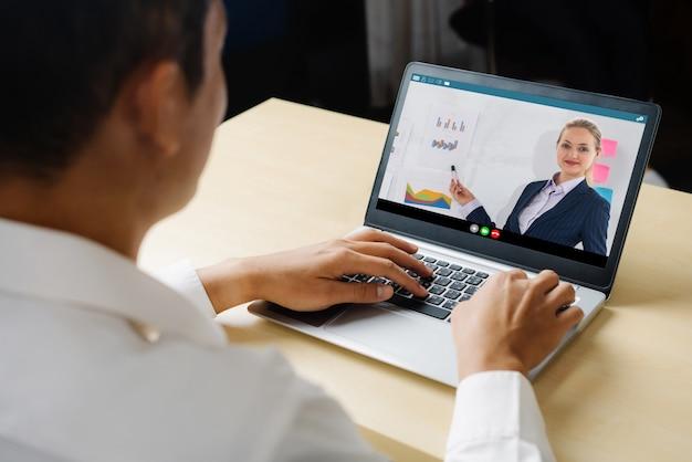 E-learning und online business presentation meeting-konzept. Premium Fotos