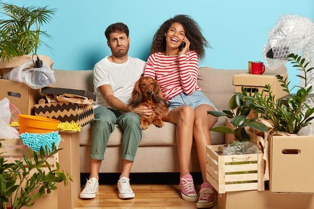Ehepaar auf sofa mit hund umgeben von pappkartons Kostenlose Fotos