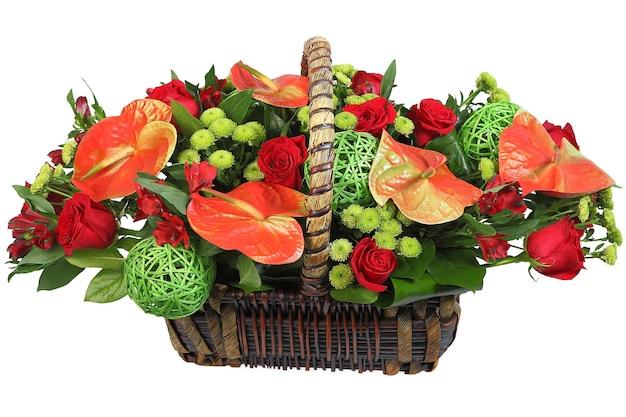 Ein blumenstrauß in einem weidenkorb, rotes anthurium, sprühchrysantheme, rote rose. floristische zusammensetzung, blumenanordnung, isoliertes bild auf weißem hintergrund. Premium Fotos