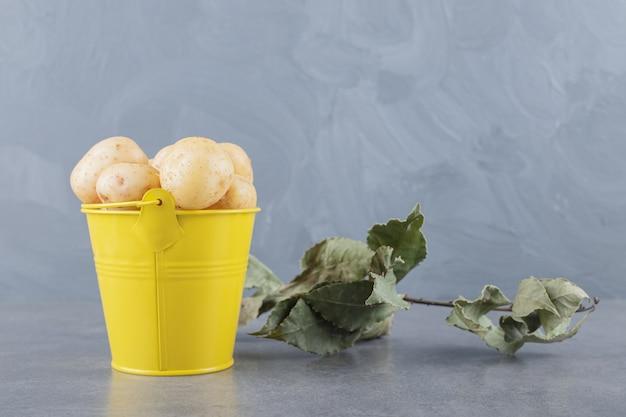 Ein gelber eimer voller ungekochter kartoffeln. Kostenlose Fotos