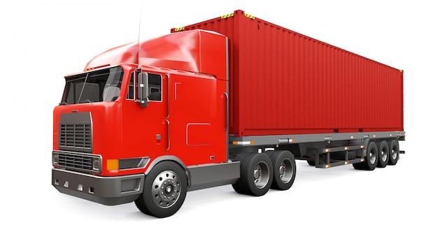 Ein großer roter retro-lkw mit einem schlafteil und einer aerodynamischen erweiterung trägt einen anhänger mit einem seecontainer Premium Fotos
