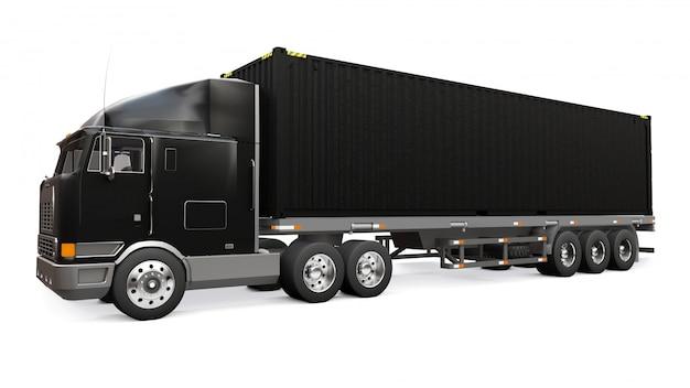 Ein großer schwarzer retro-lkw mit einem schlafteil und einer aerodynamischen erweiterung trägt einen anhänger mit einem seecontainer. 3d-rendering. Premium Fotos