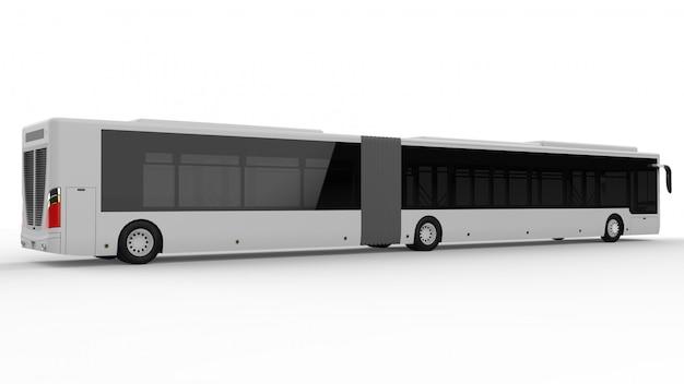 Ein großer stadtbus mit einem zusätzlichen länglichen teil für große passagierkapazität während der hauptverkehrszeit oder personentransport. modellvorlage für die platzierung ihrer bilder und inschriften. Premium Fotos