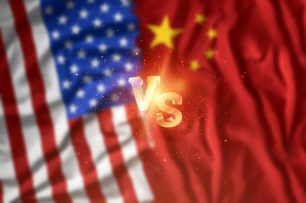 Ein handelskrieg zwischen china und den vereinigten staaten, amerikanische und chinesische flagge. waffenstillstand, krieg, sanktionen, geschäfte. Premium Fotos