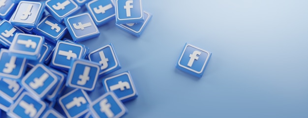 Ein haufen facebook-logos auf blau Premium Fotos