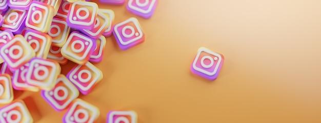 Ein haufen instagram-logos auf orange Premium Fotos