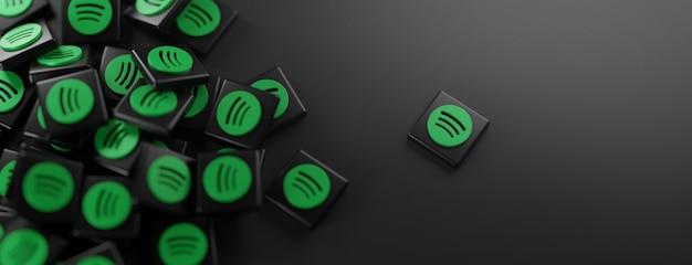 Ein haufen spotify-logos auf schwarz Premium Fotos