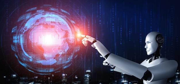 Ein humanoider ki-roboter, der den virtuellen hologrammbildschirm berührt und das konzept der big-data-analyse zeigt Premium Fotos