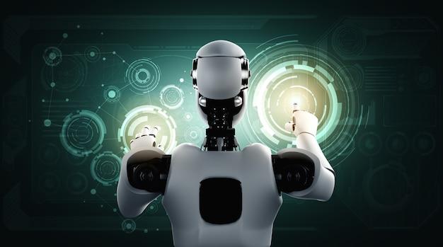 Ein humanoider ki-roboter, der den virtuellen hologrammbildschirm berührt und das konzept von big data zeigt Premium Fotos