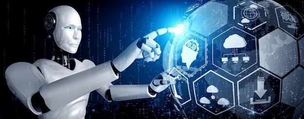 Ein humanoider roboter, der den hologrammbildschirm berührt, zeigt das konzept der globalen kommunikation Premium Fotos