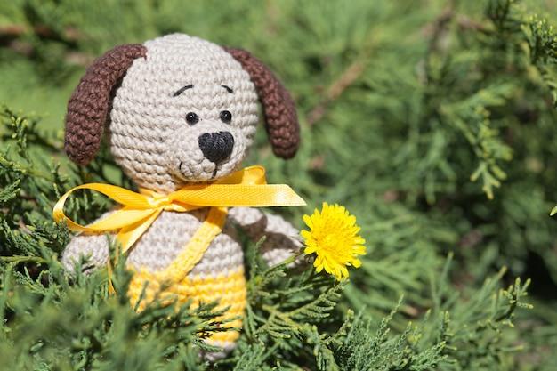 Ein kleiner gestrickter brauner hund mit einem gelben band im sommergarten. gestricktes spielzeug, handgemacht, amigurumi Premium Fotos