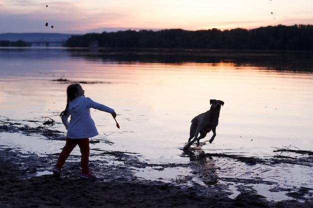 Ein mädchen spielt mit einem hund an einem sandstrand am fluss bei sonnenuntergang. Premium Fotos