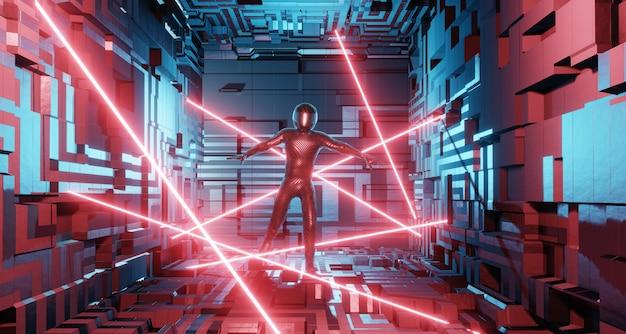 Ein mann im anzug eines motorradfahrers, ein astronaut in einem science-fiction-interieur geht per laserschutz Premium Fotos