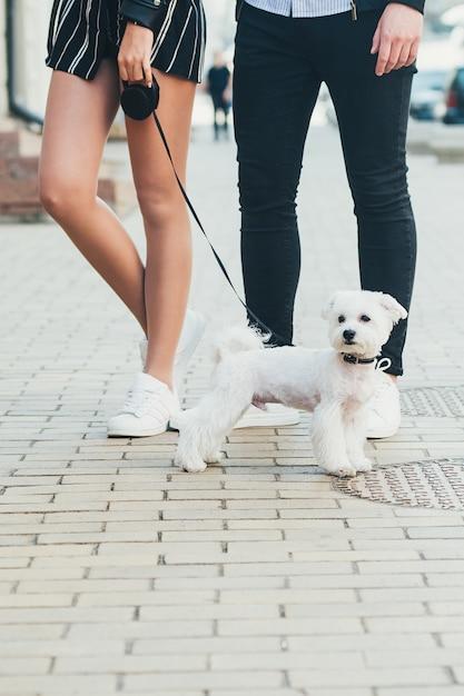 Ein niedlicher kleiner weißer hund und beine eines jungen paares, in der straße Premium Fotos