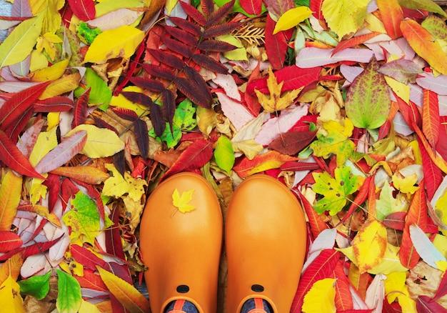 Ein paar orange gummigaloschen färbte herbstlaub Premium Fotos